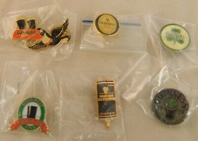 Lot of 6 Guinness Beer Lapel / Hat Pins - New in Wrapper