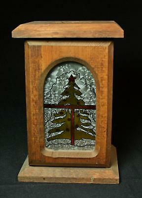 Vintage Rustic Country Wood Votive Candle Lantern With Glass Christmas Tree Door