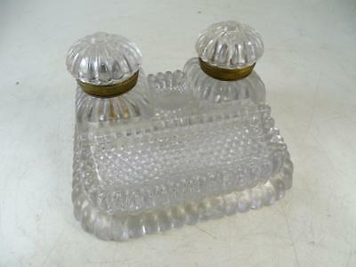 Antique EAPG Glass Desk Inkwell Pin Tray Pen Holder Set 1890s Vintage Victorian