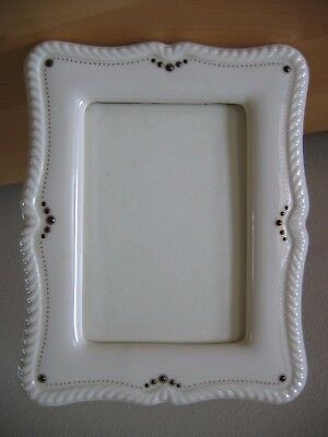 """Vintage LENOX Cream China Picture Frame 7"""" x 5 1/2"""" Green Mark"""