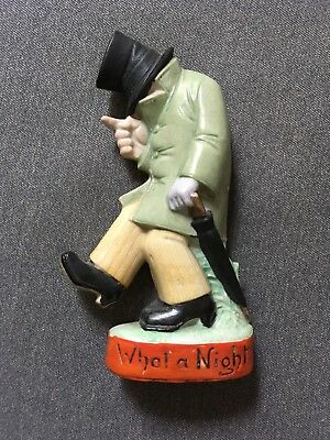"Vintage SHAFER VATER Flask Drunk Man Top Hat Umbrella ""What A Night"" 2 of 2"