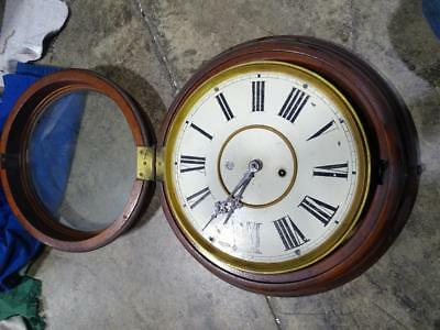 Antique School House Antique Round Wall Clock Regulator Waterbury Store Vintage