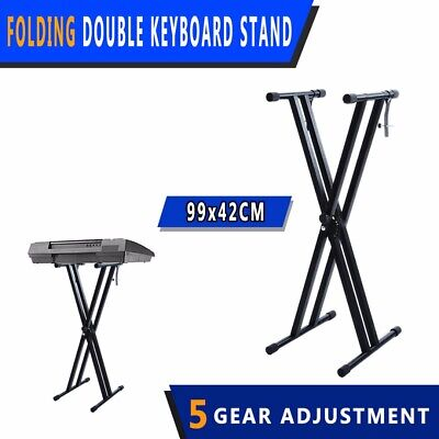 Folding Double Braced X Style Music Piano Keyboard Stand Adjustable Height AUS