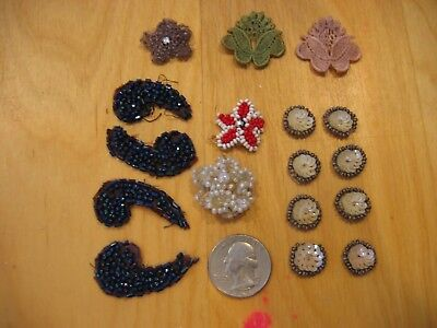 Vintage Lot of 17  Small BEADED & Fabric Millinery Decorations Never Used