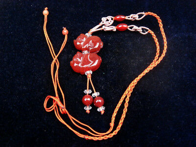 Top Quality Agate Hand Carved Pair Piggy Pendant Necklace w/ Beads #12021829