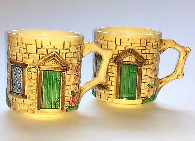Set of 2 Sylva Ceramics Cottage Mugs England Staffordshire Thatched Roof Croft
