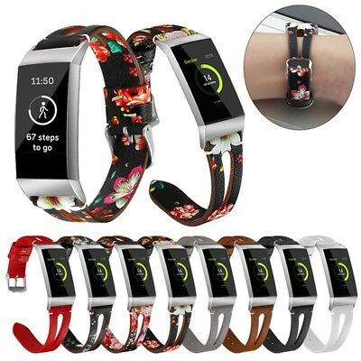 2019 Printed Leather Watch Band Strap Bracelet For Fitbit Charge 3 Wristband New