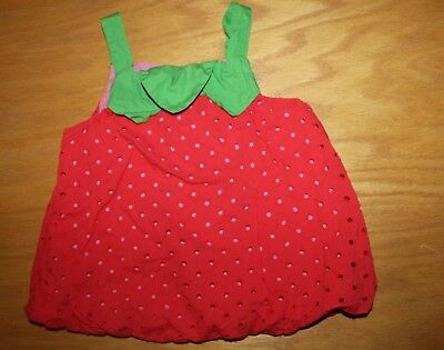 VGUC Gymboree Strawberry Sweetheart size 5T Red Eyelet Strawberry Shirt Top
