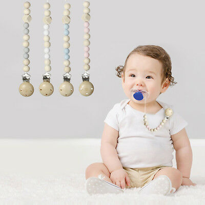 Infant Baby Pacifier Clip Chain Holder Wood Silicone Beads Nipple Toy Pendant AU