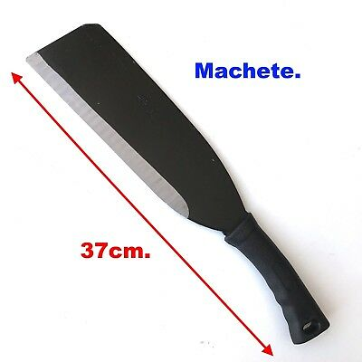 Machete 37cm long sharpened edge steel blade,& secure plastic handle grip- new.