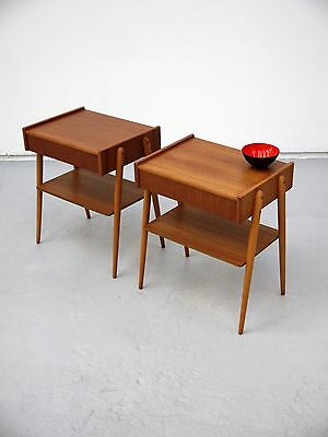 1970s VINTAGE ORIGINAL PAIR OF DANISH TEAK BEDSIDE TABLES AB CARLSTROM DENMARK