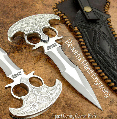 Impact Cutlery Custom Hand Made Knife | Full Tang |  Hand Engraved Nickel Silver