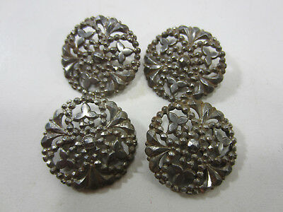 4 Vintage Steel Top Filigree Brass Shank Buttons