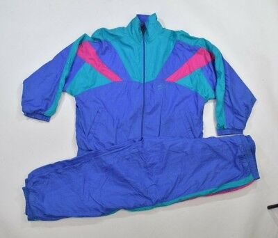 Vintage 90s Blue Green Full Shell Suit Tracksuit Top Jacket Bottoms Retro M