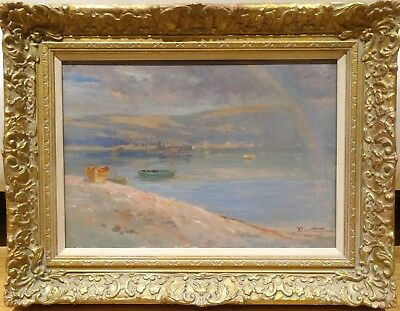 19th Century Impressionist Rainbow Beach Landscape Bangor Antique Robert FOWLER
