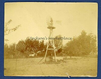Farm Windmill, Antique Photo, 1907, Unknown Location