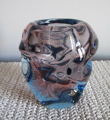 """Knobbly Glass Vase Czech Propeller Style Blue Pink / Purple Indented 3 5/8"""""""