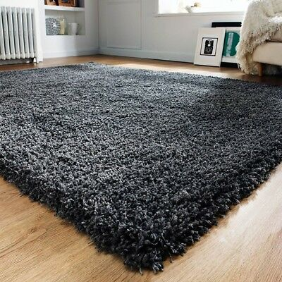 Modern Grey Thick Non Shed Shaggy Rugs Soft Cosy Graphite Fluffy Living Room Rug