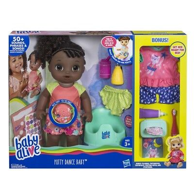 Baby Alive Potty Dance Exclusive Value Pack, Black Curly Hair *distressed