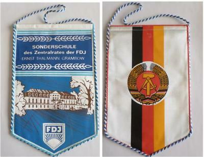 DDR Tisch - Fahne FDJ Wimpel S-Schule ET Grambow East german flag for table GDR