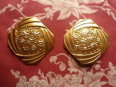 Antique Pair Of French Art Deco Gilt Toleware Hook Covers