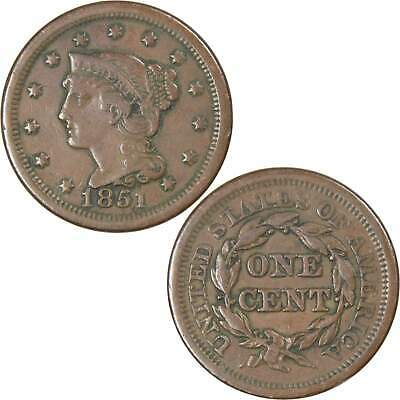 1851 Normal Date 1c Braided Hair Large Cent Penny Coin VF Very Fine