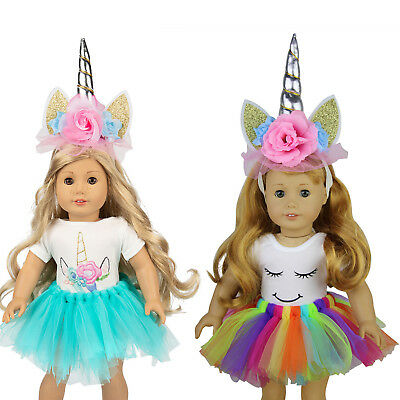 Doll Clothes Headband Horn Dress Outfit for American 18 INCH Dolls Girl Kid Gift