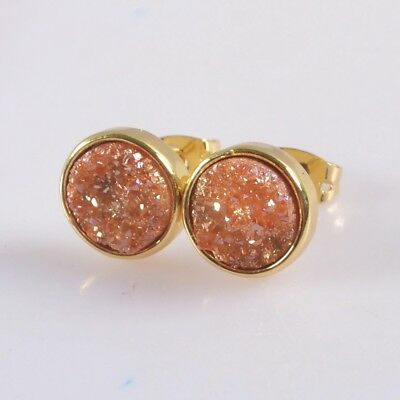 10mm Round Natural Agate Titanium Druzy Bezel Stud Earrings Gold Plated B076665