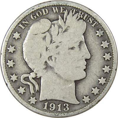 1913 D Barber Silver Half Dollar Average Circulated