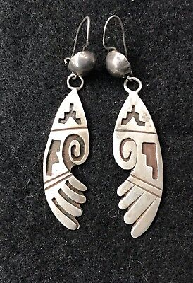 "Vintage Navajo Native American Earrings Signed ""Navajo A """