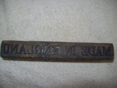 """Alter Stempel ,,MADE IN ENGLAND"""", made by John Wild"""
