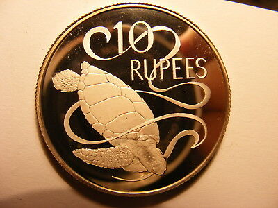 Seychelles 1974 Large Silver Proof 10 Rupees, KM#20a, Mintage ONLY 25,000,Turtle