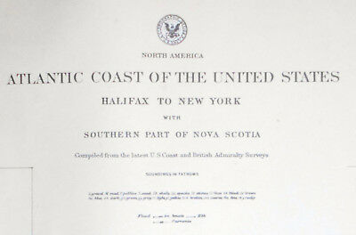 Vintage Sea Chart Map Atlantic USA Long Island Cape Cod Nova Scotia Canada 1927