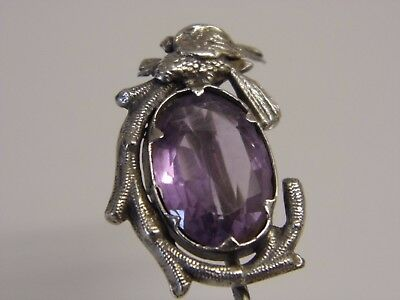 A Fine Antique Victorian Sterling Silver & Large Amethyst Set Stick Lapel Pin