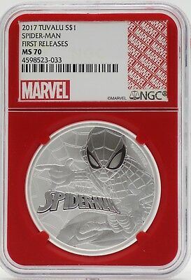 2017 Tuvalu Spider-Man 1 Oz Silver NGC MS70 First Releases Redcore JB519