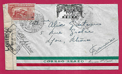 Mexique Mexico 1943 Ww2 Servicio Aero Censure Censor Lyon France Lettre Cover