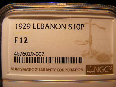 Lebanon 1929 Silver 10 Piastres, KM#6, One Year Type Coin, F-12, NGC HOLDER