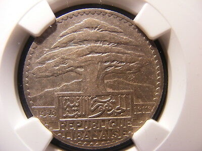 Lebanon 1929 Silver 50 Piastres, KM#8, XF details Scratches, NGC Holder
