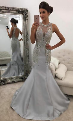 7e1c5a2287e07 Gray Long Formal Evening Party Dress Beaded Mermaid Pageant Prom Celebrity  Gown