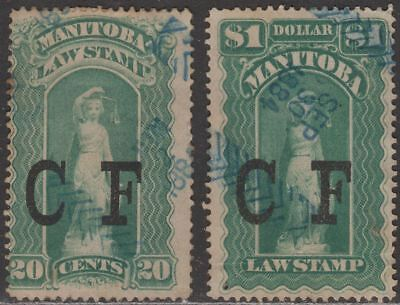 Canada Manitoba 1877 QV Revenue Consolidated Fund Overprint 20c, $1 Used