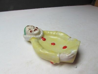 Vintage Hand Painted Harlequin Clown Figural Spoon Rest