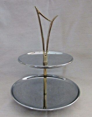 Tidbit Server, Chrome 2-Tiered With Gold Jetson Handle, EX, Vintage Mid Century