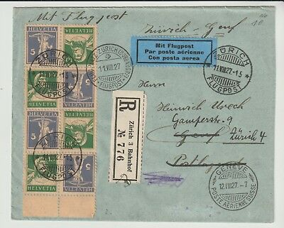 Stamps Switzerland 1927 Reg Tete Beche Block Of 8 On Cover From Collection
