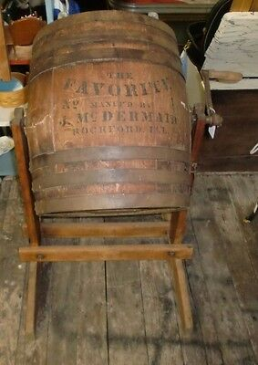Primitive Old Paint Butter Churn favorite No. 1, Mnfd by J. McDermaid