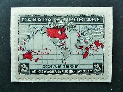 CANADA 1898 XMAS 2c MAP STAMP (PL.3) VERTICLE EAST CABLE RETOUCH - MH - STAMP 70