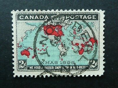 CANADA 1898 XMAS 2c MAP STAMP WITH 1899 BERLIN, ONTARIO CANCEL - FINE USED