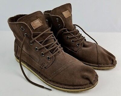 Toms women's Hightop Brown Suede leather shoes Size 8.5 M Pre-owned good conditi