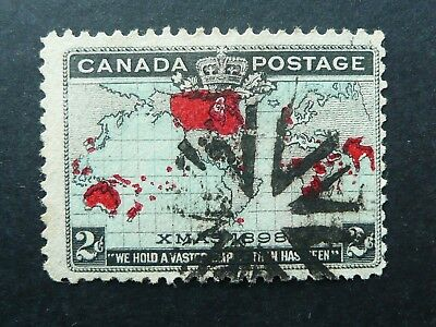 CANADA 1898 XMAS 2c MAP STAMP WITH BARBED ARROWHEAD CANCEL - FINE USED - SEE!