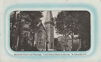 1912 postcard: Reformed Church & Parsonage, St. Johnsville, NY