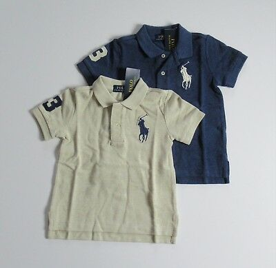 NWT Ralph Lauren Toddler Boys S/S Big Pony Solid Mesh Polo Shirt 2/2t 3t 4t NEW